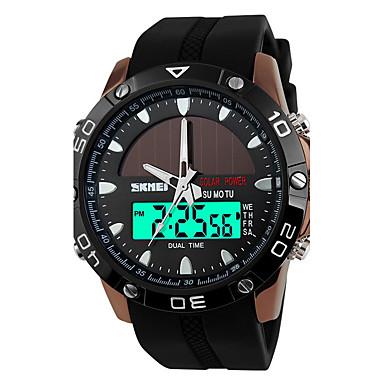SKMEI Homens Relógio Esportivo / Relogio digital Alarme / Calendário / Solar Borracha Banda Preta / Impermeável / Luminoso / LCD / Dois Fusos Horários / Cronômetro