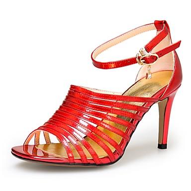 Damen Schuhe Leder Frühling Sommer Knöchelriemen Stöckelabsatz Für Normal Party & Festivität Kleid Silber Rot Blau