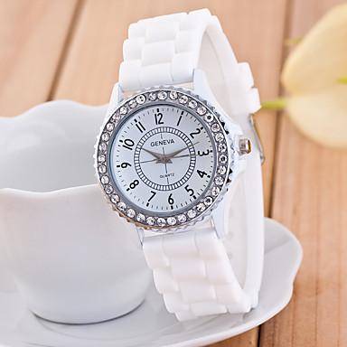 Geneva Kadın's Bilek Saati Quartz Gündelik Saatler imitasyon Pırlanta Silikon Bant Analog Işıltılı Günlük Moda Siyah / Beyaz / Mavi - Yeşil Mavi Pembe Bir yıl Pil Ömrü / Tianqiu 377
