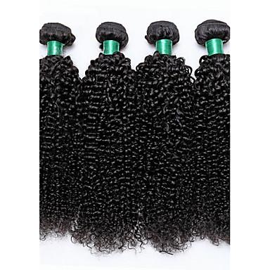 baratos Extensões de Cabelo Natural-4 pacotes Cabelo Brasileiro Kinky Curly 10A Cabelo Virgem Cabelo Humano Ondulado Tramas de cabelo humano Extensões de cabelo humano / Crespo Cacheado