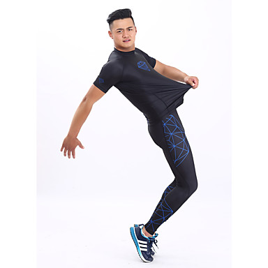 GETMOVING בגדי ריקוד גברים בגדי ריקוד נשים טישרט ומכנסיים לריצה שרוולים קצרים ייבוש מהיר עיצוב אנטומי עמיד אולטרה סגול חדירות גבוהה