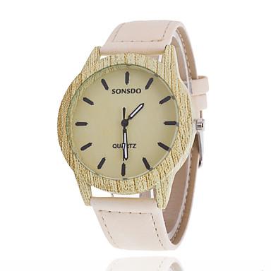 Masculino Relógio de Moda Relógio Madeira Quartzo Relógio Casual Couro Banda Marrom Branco