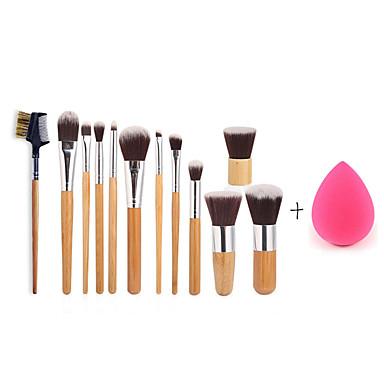 11pc alça de bambu e do cabelo de nylon conjunto de cosméticos Escova e esponja de maquiagem tamanho pequeno