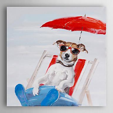 handgemaltes Ölgemälde Tier Sommerspaß Hund mit gestreckten Rahmen