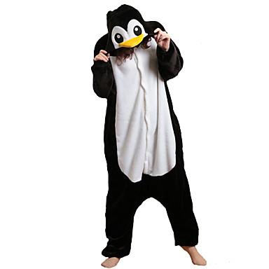 Pijama Kigurumi Pinguin Pijama Întreagă Costume Lână polară Negru/Alb Cosplay Pentru Adulți Sleepwear Pentru Animale Desen animat