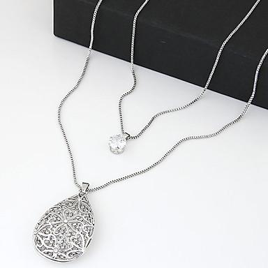 Modische Halsketten Anhängerketten / Layered Ketten Schmuck Party / Alltag / Normal Doppelschicht / Modisch Silber / Weiß 1 Stück Geschenk