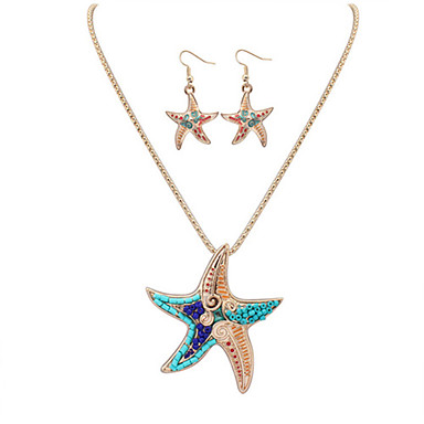 Mujer Conjunto de joyas - Piel, Resina Estrella de mar Europeo, Moda Incluir Collar / pendientes Plata / Dorado Para Fiesta Diario Casual / Pendientes / Collare