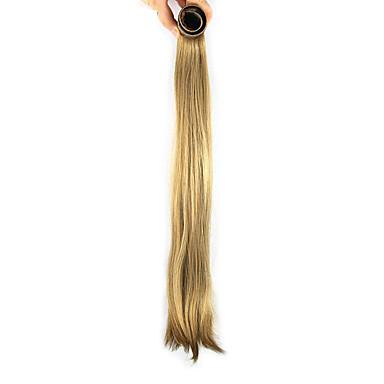 Schwarz und Gold Perücke 52cm synthetische gerade Hochtemperatur-Draht Schrapnell glattes Haar Pferdeschwanz Farbe Länge 2005