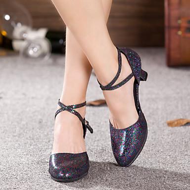 baratos Shall We® Sapatos de Dança-Mulheres Sapatos de Dança Glitter / Paetês / Sintético Sapatos de Dança Latina Lantejoulas / Apliques / Gliter com Brilho Sandália / Salto / Têni Salto Cubano Não Personalizável Preto / Prateado