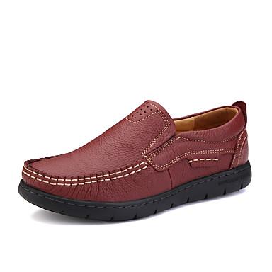Sneakers-Læder-Komfort-Dame-Sort Rød-Fritid-Flad hæl