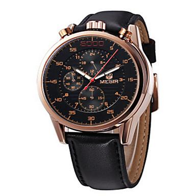 MEGIR Herren Kleideruhr Quartz LED Kalender Armbanduhren für den Alltag Stopuhr Leder Band Schwarz Schwarz Silber Golden