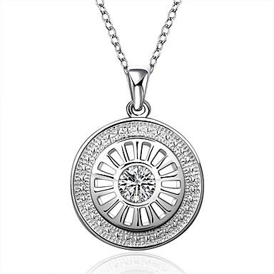 Női Rövid nyakláncok, Nyaklánc medálok, Nyilatkozat nyakláncok - gyémánt, Ezüst, Cirkonium Fehér / Kocka cirkónia / Kocka cirkónia