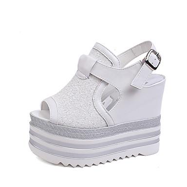 Damen Schuhe PU Sommer Keilabsatz Mit Paillette Glitter Ausgehöhlt Für Normal Party & Festivität Weiß Schwarz Silber