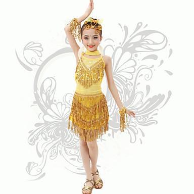 Mehetünk latin tánc gyerekek teljesítményét spandex flitterekkel / címer (ek) heveder backless ruha