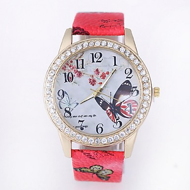 Damen Modeuhr Quartz Armbanduhren für den Alltag PU Band Mehrfarbig