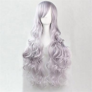 Synthetische Perücken Glatt Kinky Glatt Grau Damen Kappenlos Karnevalsperücke Halloween Perücke Synthetische Haare