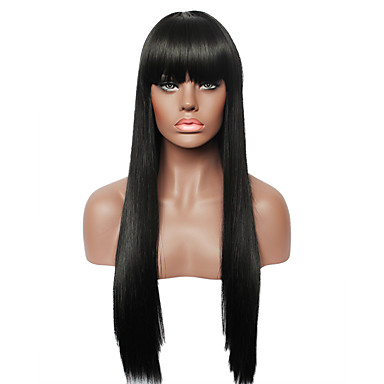 sem tampa preta longa peruca humano real em linha reta cabelo para as mulheres