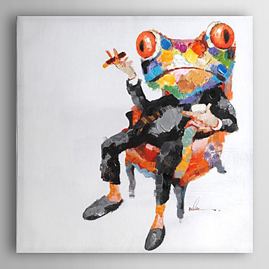handgemaltes Ölgemälde Tier Frosch Chef mit gestreckten Rahmen 7 Wand ARTS®