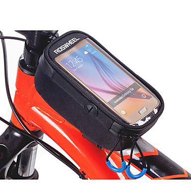 ROSWHEEL תיקים למסגרת האופניים טלפון נייד תיק 5.2 אינץ ' עמיד ללחות רוכסן עמיד למים לביש מסך מגע עמיד לזעזועים רכיבת אופניים ל iPhone