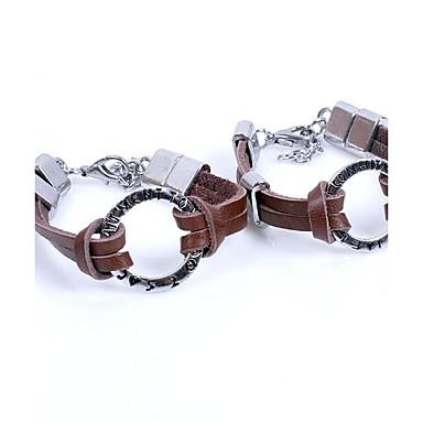 Bracelet Bracelets en cuir Alliage / Cuir / Acier au titane Soirée / Quotidien / Décontracté / Sports Bijoux Cadeau Argent,1 paire