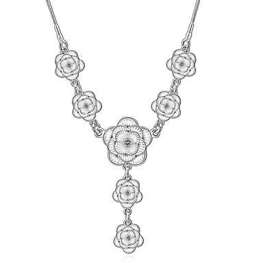 Dame Kort halskæde / Halskædevedhæng / Erklæring Halskæder - Diamant, Sølv Blomst Mode Hvid Halskæder Til Bryllup, Fest, Daglig