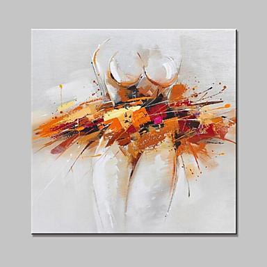 Pintura a Óleo Pintados à mão - Abstrato Modern Tradicional Tela de pintura