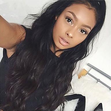 halpa Aitohiusperuukit verkolla-Aidot hiukset Lace Front Peruukki tyyli Brasilialainen Luonnolliset aaltoilevat Peruukki 130% Hiusten tiheys ja vauvan hiukset Luonnollinen hiusviiva Afro-amerikkalainen peruukki 100% käsinsidottu