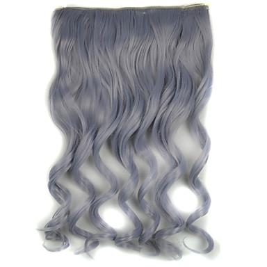 20 pouces 5 clips en extension de cheveux synthétiques gris vague de corps granny