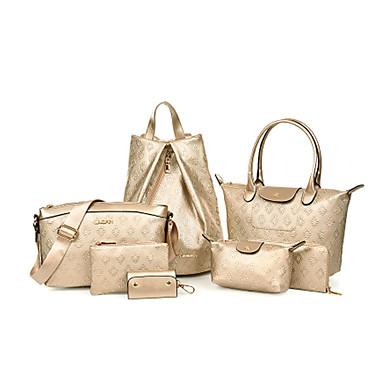 Feminino Couro Ecológico Formal / Casual / Trabalho & Escritório / Compras Mochila / Conjuntos de saco Bege / Azul / Dourado / Preto