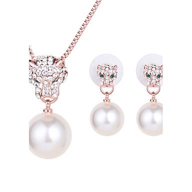 Mulheres Conjunto de jóias - Imitação de Pérola, Strass, Rosa Folheado a Ouro Incluir Colar / Brincos Dourado Para Casamento / Festa / Diário / Colares
