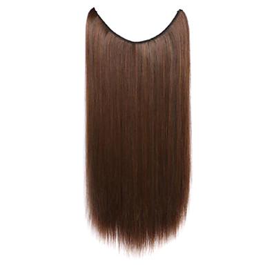 peruca marrom 55 centímetros sintética fio de alta temperatura de cor pedaço cabelos lisos 4a / 30b