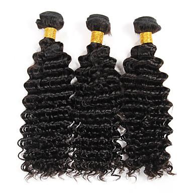 baratos Extensões de Cabelo Natural-3 pacotes Cabelo Brasileiro Onda Profunda 8A Cabelo Humano Cabelo Humano Ondulado Tramas de cabelo humano Extensões de cabelo humano