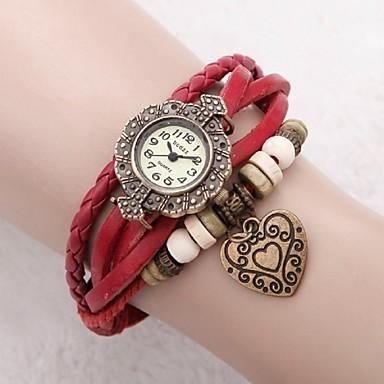 Femme Montre Habillée Montre Tendance Bracelet de Montre Japonais Quartz Cuir Vrai Cuir Bande rétro Heart Shape Fleur Bohème Rouge Rouge
