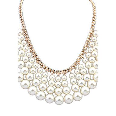Damen Niedlich Freizeit Modisch Europäisch Mehrlagig Anhängerketten Kragen Perlenkette Perle Künstliche Perle Rosa Perle Aleación