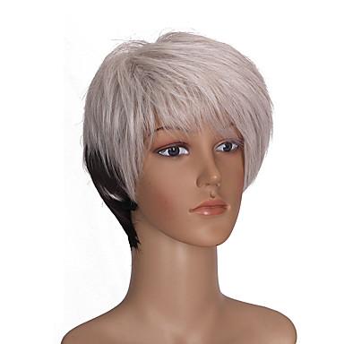 Perruque Synthétique Droit Sans bonnet Femme Blanc Court