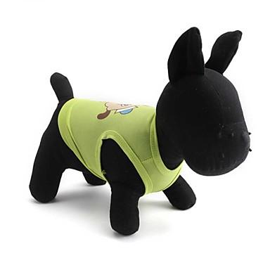 Gatos / Cães Camiseta Verde / Rosa Roupas para Cães Verão / Primavera/Outono Floral / Botânico Da Moda