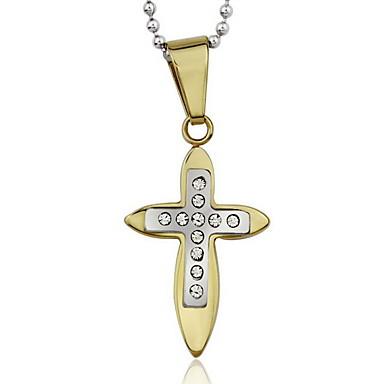 נשים שרשראות תליון תליונים Cross Shape פלדת על חלד יהלום מדומה פאר איקס _(קרוס) תכשיטים עבור יומי קזו'אל