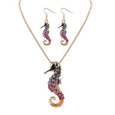 Damen Leder Niedlich Schmuck-Set Ohrringe / Halsketten - Büro / Freizeit / nette Art Silber / Golden Schmuckset / Halskette / Ohrringe Für
