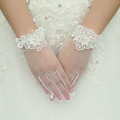 Seide Elastischer Satin Handgelenk-Länge Handschuh Brauthandschuhe