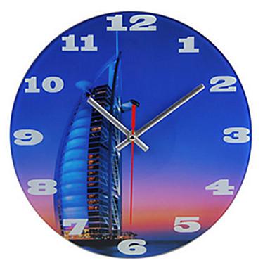 Moderne/Contemporain Autres Horloge murale,Rond Bois Horloge