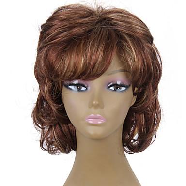 hitzebeständig billig gefälschte Haarperücke kurze braune lockige synthetische Perücken für Frauen