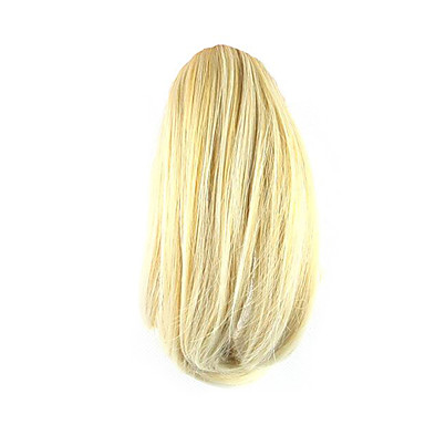 Com Presilha Encaracolado Rabos-de-Cavalo Urso Claw / Jaw Clip Pedaço de cabelo Alongamento 10 polegadas Loiro
