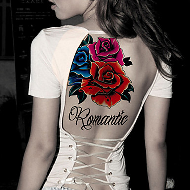 2 pcs Tatuajes Adhesivos Los tatuajes temporales Series de Tótem / Series de Animal / Series de Flor Artes de cuerpo Rostro / Cuerpo / manos