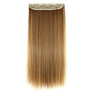 peruca 60 centímetros de alta temperatura comprimento do fio marrom cabelo liso extensão de cabelo sintético dourado
