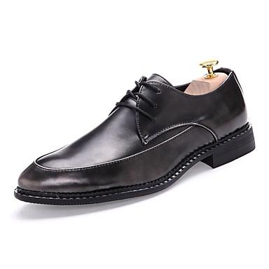Hombre Zapatos Sintético Primavera / Verano / Otoño Confort Tacón Cuadrado Negro / Boda / Fiesta y Noche