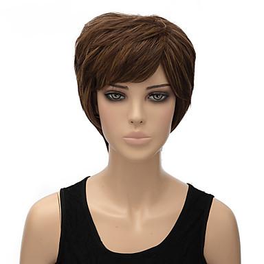 divat természetes barna színű, rövid, egyenes szintetikus paróka