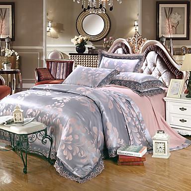 Blumen Bettbezug-Sets 4 Stück Baumwolle / Modal / lyocell Luxuriös Jacquard Baumwolle / Modal / lyocellca. 1,50 m breites Doppelbett /