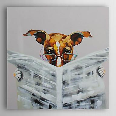 Hang festett olajfestmény Kézzel festett - Állatok Modern Vászon / Nyújtott vászon