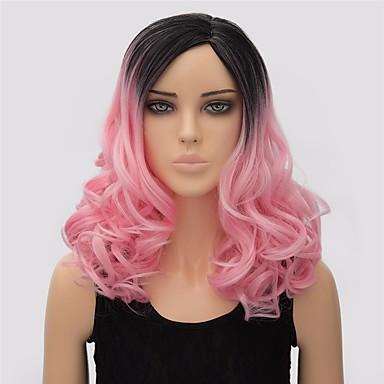 Synthetische Haare Perücken Wellen Kappenlos Medium Rosa