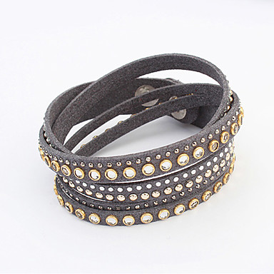 Femme Bracelets Cuir Acrylique Mode Noir Gris Rouge Bleu Bijoux 1pc